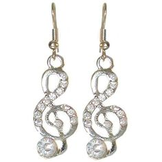 1/2 X 1 1/2 Treble Clef Earrings with Rhinestones In Crystal with Silver Finish: http://www.amazon.com/Treble-Earrings-Rhinestones-Crystal-Silver/dp/B005NNN86C/?tag=utilis-20