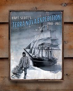 NEW Vintage wooden sign ' Terra Nova Expedition ' by VASSdesign