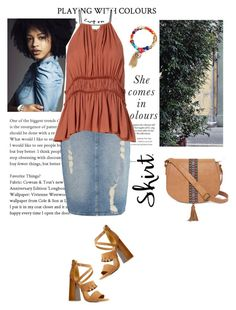 """""""Your Denim Skirt"""" by style-stories ❤ liked on Polyvore featuring Calvin Klein, T-shirt & Jeans, Avenue and Qupid"""