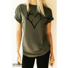 Fishing Shirt Antler Hook Heart Fishing T Shirts Fishing Gifts Fishing... ($24) ❤ liked on Polyvore featuring tops, t-shirts, dark olive, women's clothing, tee-shirt, heart tee, heart shirt, brown t shirt and t shirt