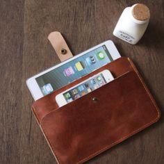 Tan leather ipad mini case, ipad sleeve - leather bag for ipad mini, Kobo Glo, Kindle