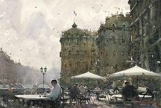 Life in Paris - Watercolor by Joseph Zbukvic
