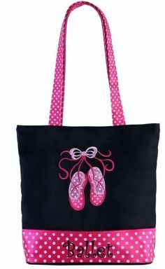 Pink Dance Bag with Embroidered Ballet Shoes and Silver Handles and Trim