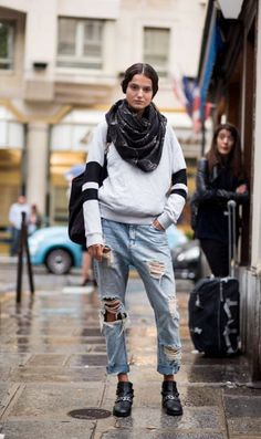 distressed denim + sporty pullover #style #fall #streetstyle