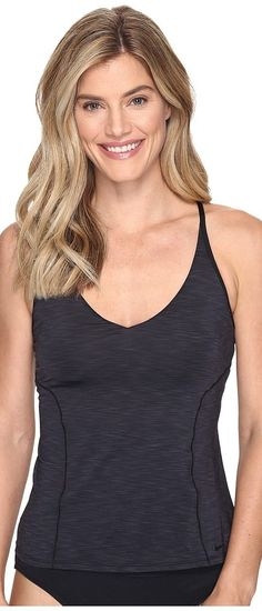 Nike Iconic Heather V-Back Tankini Top (Black) Women's Swimwear - Nike, Iconic Heather V-Back Tankini Top, NESS7291-001, Apparel Top Swimwear, Swimwear, Top, Apparel, Clothes Clothing, Gift, - Street Fashion And Style Ideas