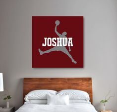 Our personalized basketball canvas will look great in your bedroom or dorm room.  You can customize it with any colors or order it in the grey, burgundy and white shown.  We will personalize it with your name.  Great addition to any basketball themed bedroom for boys and teens.