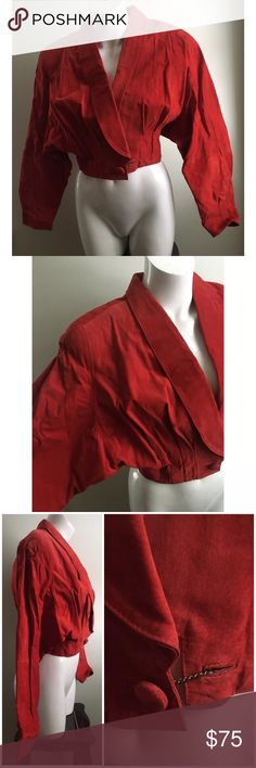 """Vtg Wilsons Sz L Red Leather Crop Jacket Oversized Company: WILSONS Size: Large 100% leather  Has padded shoulders and structured oversized cropped jacket Dolman type sleeves  Single button closure  Measurements laying down: Sleeve: 24"""" Shoulder to hem length: 18.5"""" Width: ~20"""" Wilsons Leather Jackets & Coats Utility Jackets"""