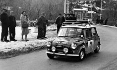 "1966 .. Monte .. GRX 555 D would have led a 1 2 3 finish of minis , only for a posting put up by the French Just before the final stage saying dipping bulbs must be fitted , they didn't like none French cars dominating ""their"" rally , after 8 hrs. the 3 cars were disqualified because they had none dipping bulbs fitted , and not even awarded a finishers plaque , But fortune smiled on the Mini in 1967 , as it won making it 4(3 if your French) out of 4 !"