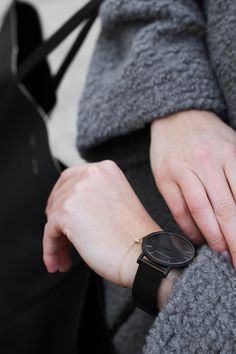 Black on Black watch is a must for the fall season Fashion Details, Love Fashion, Larsson And Jennings Watch, Jewelry Accessories, Fashion Accessories, Wear Watch, Minimal Fashion, Fall Season, Searching