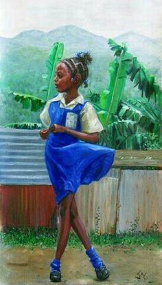 Jonathan Gladding Black Girl Art, Black Women Art, Art Girl, African Artwork, African Paintings, Jamaican Art, Afrique Art, Haitian Art, Caribbean Art