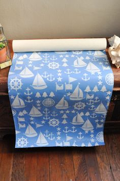 Vintage Baby Blue Nautical Sailing Wallpaper Roll Glendura Vinyl Fabric Wallcovering by drowsySwords on Etsy