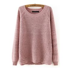 Pink Round Neck Cross Back Loose Sweater ($28) ❤ liked on Polyvore featuring tops, sweaters, red sweater, round neck top, round neck sweater, loose fit sweater and loose tops
