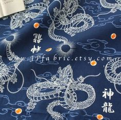 Dragon Fabric. Japanese Fabric. Cotton Fabric. Blue by JPfabric