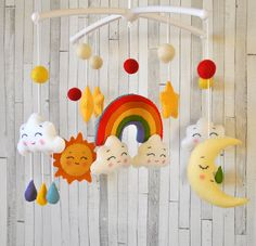 Baby mobile Rainbow Clouds mobile Moon mobile Sun by minimezShop