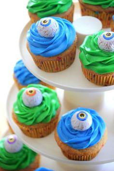 """Easiest cupcakes ever. Cute for Halloween or """"monster week"""" in kindergarten."""