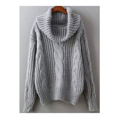 SheIn(sheinside) Grey High Neck Cable Knit Sweater ($22) ❤ liked on Polyvore featuring tops, sweaters, grey, cable turtleneck sweater, turtle neck sweater, grey pullover sweater, turtleneck sweater and loose sweater
