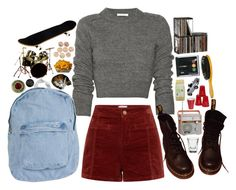 """""""It's wrong wrong wrong, but we'll do it anyway cause we love a bit of trouble"""" by tarynasaurus ❤ liked on Polyvore featuring moda, Carven, American Apparel, Dr. Martens, CO, CB2, Dot & Bo y Brush Strokes"""
