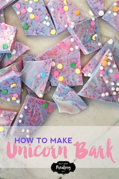 Unicorn Bark! Cute, sparkly, and fun! Also called Unicorn Poop Bark, Unicorn Bark is delicious, fun, colorful and sparkly. Great for easter candy, kids parties, and unicorn enthusiasts!