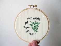 Cross Stitch Kit with all the materials needed to stitch the phrase Aint nobody…
