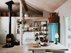Swedish cottage interior. With a woodburner. And duck-egg blue. Yum.