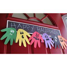 Halloween Hand Print Ghoul Banner via craftsbyamanda #Halloween #crafts #DIY #kids