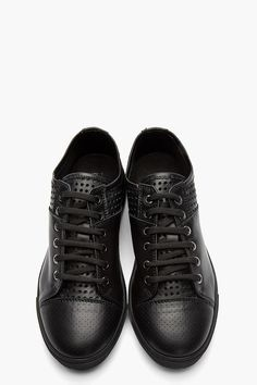 NEIL BARRETT //  BLACK PERFORATED LEATHER LANCASTER CITY SNEAKERS.