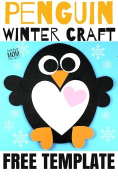 Simple Valentine's Day Penguin Art Project for Kids Simple Valentine's Day Penguin Art Project for Kids,Penguin Crafts for Kids See this post for a FREE printable template to make your own Valentine's Day Penguin! Easy Toddler Crafts, Toddler Art, Easy Crafts, Toddler Preschool, Simple Crafts For Kids, Winter Crafts For Toddlers, Preschool Winter, Children Crafts, Winter Activities