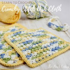 Beginning Crochet Learn how to crochet! Crochet Crunchy Stitch Dishcloth Pattern from The Birch Cottage - Learn how to crochet crunchy stitch dishcloth pattern from Petals to Picots. The Birch Cottage shares some tips, supplies and crochet instructions! Burlap Flowers, Burlap Ribbon, Diy Flowers, Paper Flowers, Crochet Projects, Sewing Projects, Diy Projects, Crochet Tutorials, Craft Tutorials