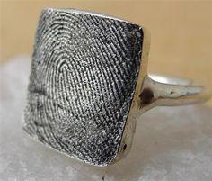Custom Fingerprint Thumbprint Ring Jewelry in by rockmyworldinc, $199.99