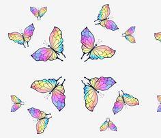 Rainbow Butterflies fabric by cricketnoel on Spoonflower - custom fabric