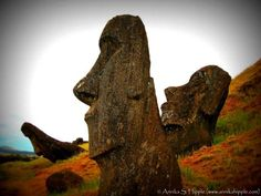 """One of my favorite photos of the moai on Easter Island, enhanced with Picasa's """"Lomo-ish"""" effect #moai #EasterIsland"""