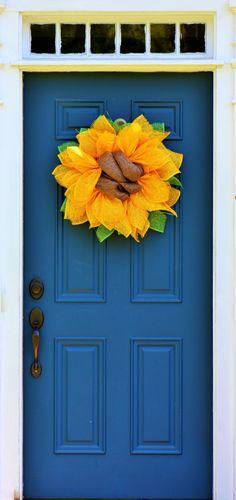 Sunflower Wreath, Yellow Mesh Wreath, Mesh Sunflower, Fall Wreath, Summer Wreath, Yellow Sunflower, Outdoor Wreath, Indoor Wreath, Gift by WreathObsessed on Etsy