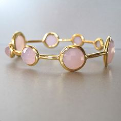 18K Gold Vermeil Bangle with Accents of Rose Quartz  by Tangerine Jewelry Shop