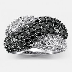 Crisscross Black & White Cubic Zirconia Ring In Sterling Silver Canada Shopping, Cubic Zirconia Rings, Online Furniture, Criss Cross, Decorative Bowls, Jewels, Black And White, Sterling Silver, Stuff To Buy