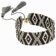 Bijoux By Us Aztec Bracelet ($19) ❤ liked on Polyvore featuring jewelry, bracelets, accessories, silver, womens-fashion, silver bangles, adjustable bangles, beads jewellery, beaded jewelry and silver jewellery