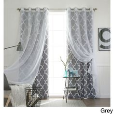 Aurora Home MIX & Match Curtains Moroccan Room Darkening and Voile Sheer 84-inch Grommet 4-piece Curtain Panel Pair (Grey 84L), Size 52 x 84 #MM_SIL_VOILE_MORO