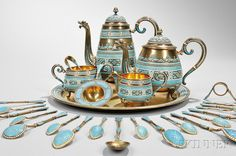 Extensive David Andersen Sterling Silver and Cloisonné-enameled Tea and Coffee Service