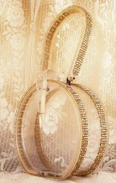 clear round purse with gold edging