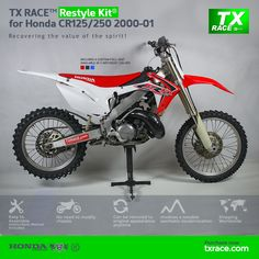 TX RACE™ Restyle Plastic Kit® for Honda CR125/250 2000 2001 is an update and modernization of the aesthetic line of this 2-Stroke model of Honda [CR] Motocross/Enduro. TX RACE™ offers an attractive solution that is easily assembled, and no chassis modification is necessary. The TX RACE™ Restyle Plastic Kit® notably enhances the appearance of your motorcycle, more than compensating for the cost of the kit. Blue Seat Covers, Honda Cr, Motocross, Racing, Bike, Motorcycle, Plastic, Motorbikes, Tactical Vest