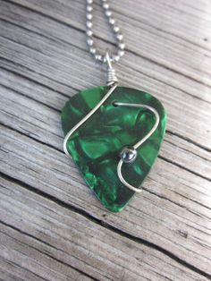 UNISEX GREEN guitar pick pendant necklace by RockKandyJewelry, $10.00