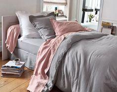 linge de lit lin lavé - gris clair | becquet