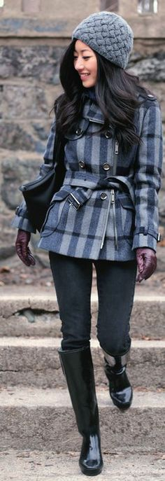 Winter Blues : Knit Cap + Wool Plaid by Extra Petite