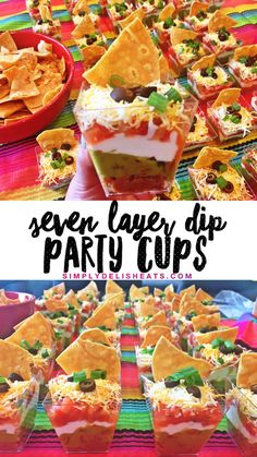 7 layer dip party cups! So fun and festive! #7layerdip #dip #cincodemayo…