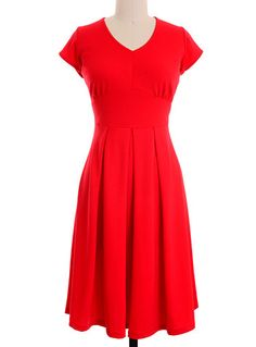 Take Me On a Lunch Date Dress in Shanghai Red by Downeast Clothing, Clothing, Red