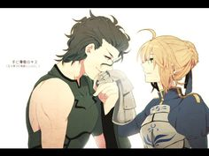 fate/zero,  saber and lancer. My favorite OTP. I wish they could have really been together