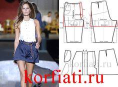Выкройка женских шорт со складками - идеальная одежда для лета! Смоделировать шорты со складками легко, а сшить еще проще! Выкройка шорт со складками модель