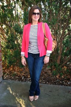Hot pink blazer, navy striped tee, denim, and nude wedges make for a casual Valentine's Day look! http://akstylemyway.blogspot.com/