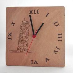Torre di Pisa Wooden clock pyrography