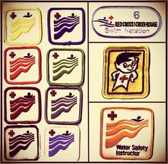 We're taking a trip down memory lane and looking at some retro Red Cross swim badges. The badges signify the completion of a level of Red Cross swimming courses. The blue badge pictured on the top right is the newest example of the badges given t. Canadian Red Cross, Retro Toys, Vintage Toys 1970s, My Childhood Memories, 1980s Childhood, Retro Swim, Nostalgic Candy, Kids Growing Up, 80s Kids