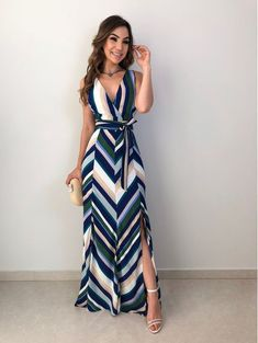 Vestido Longo Luiza is part of Cute dress outfits - Cute Dress Outfits, Chic Outfits, Cute Dresses, Summer Dresses, Long Casual Dresses, Dress Casual, Maxi Dresses, Trendy Outfits, Dress Skirt